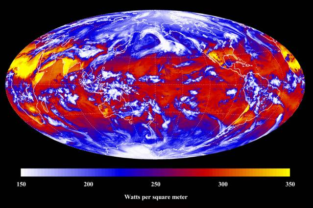 Långvågig strålning och klimatutveckling globalt 2011. Foto NASA