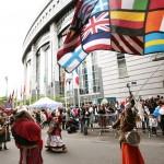 I samband med Europadagen utanför EU-parlamentet i Bryssel